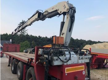 Flatbed semi-trailer NOOTEBOOM Kennis + PM Kraan 32 ton